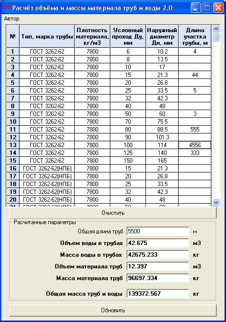 Программа для расчета объема воды в трубе